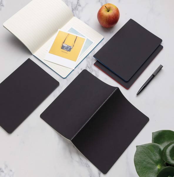 Softcover PU notebook with coloured edge - White