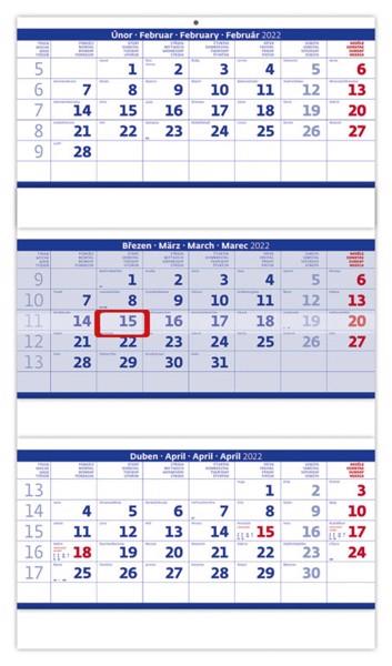 Tříměsíční kalendář Skládaný 2022 - modrý