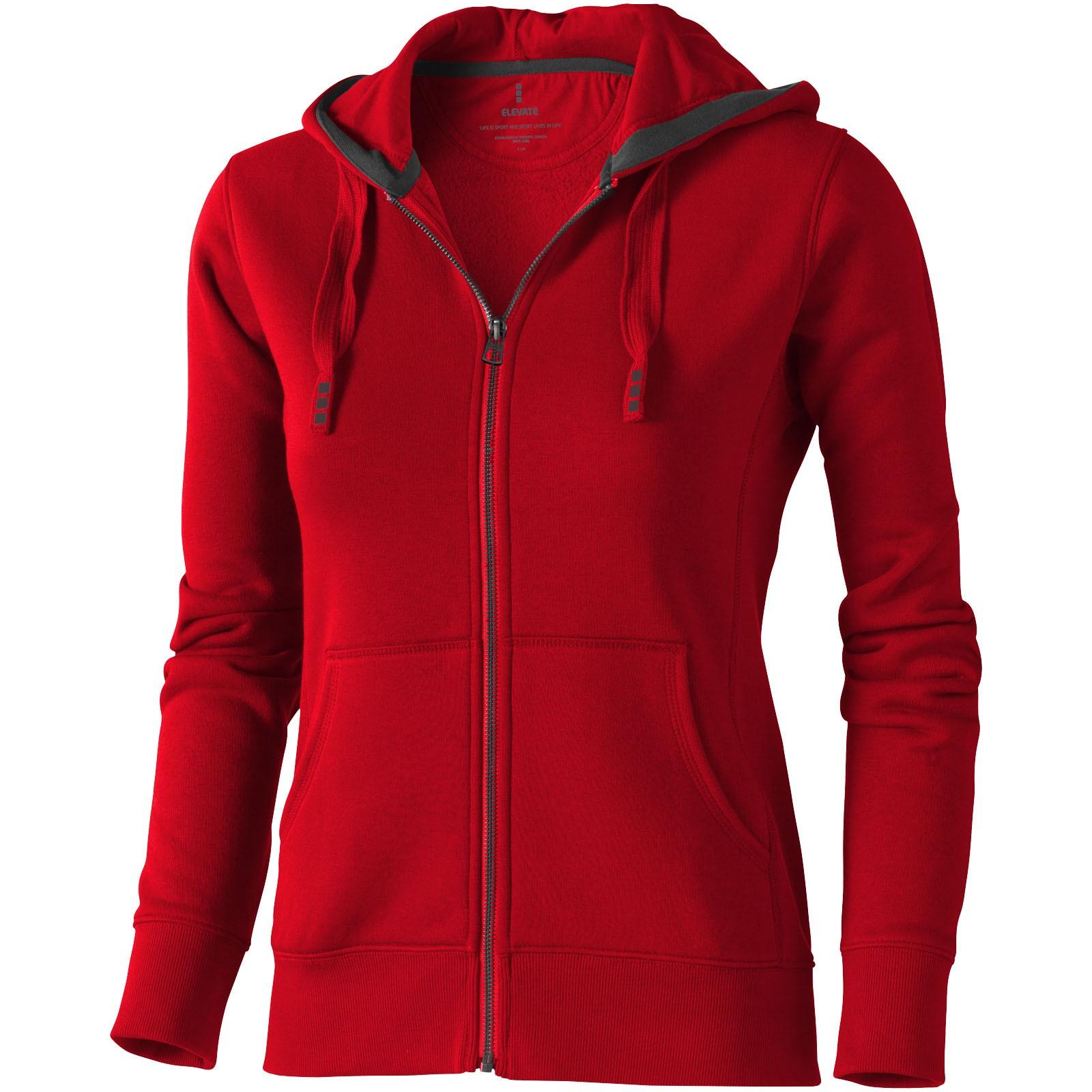 Dámská mikina Arora s kapucí, zip v celé délce - Červená s efektem námrazy / XS