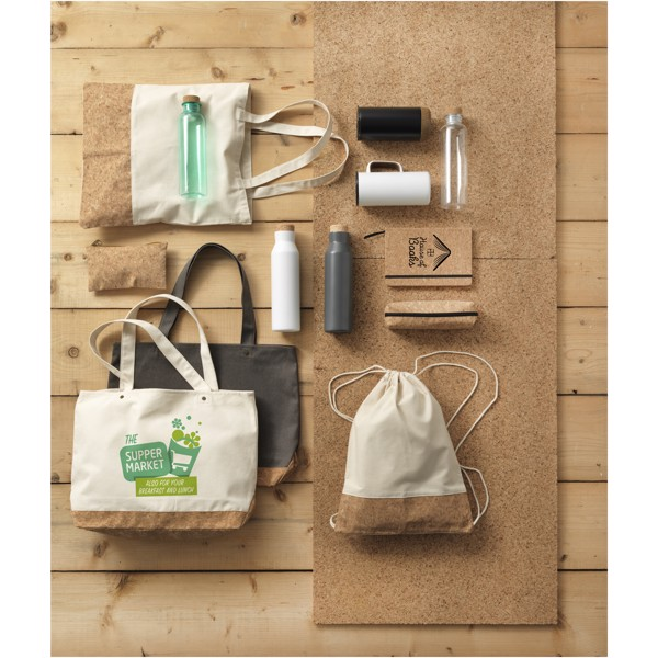 Napa 406 g/m² cotton and cork tote bag - Grey