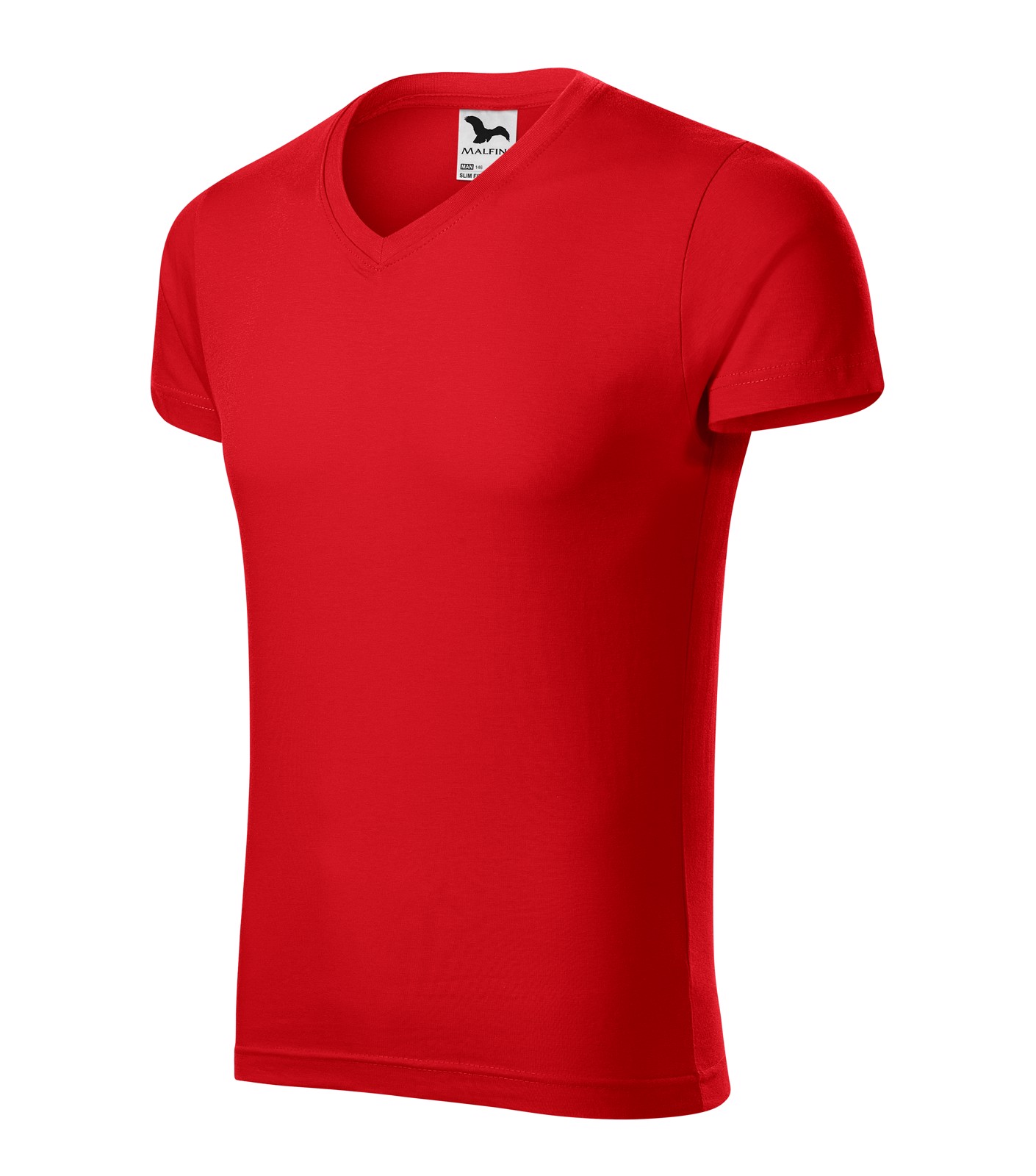 Tričko pánské Malfini Slim Fit V-neck - Červená / L