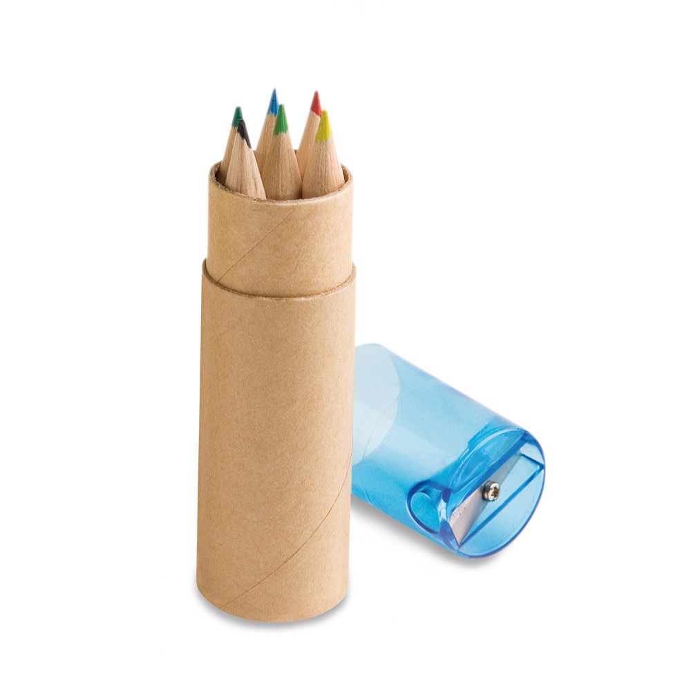ROLS. Pencil box with 6 coloured pencils - Blue