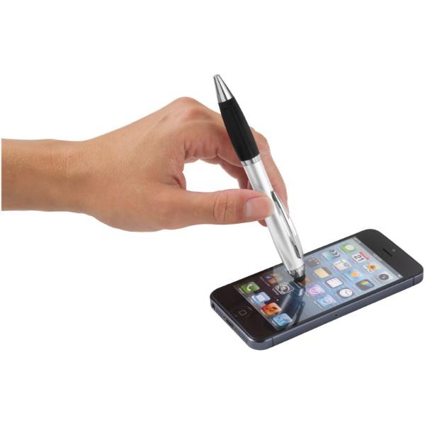 Barevné kuličkové pero a stylus Nash s černým úchopem - Stříbrný / Černá