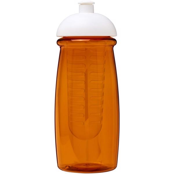 H2O Pulse® 600 ml dome lid sport bottle & infuser - Transparent orange / White