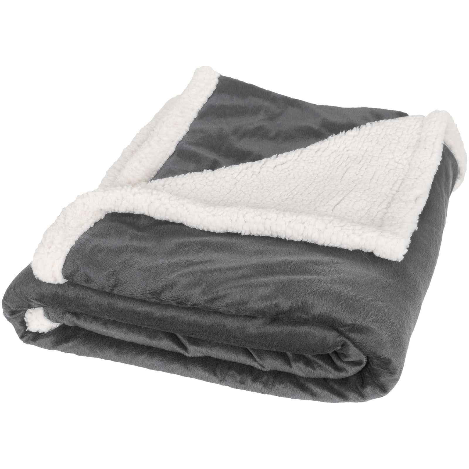 Lauren sherpa fleece plaid blanket - Grey