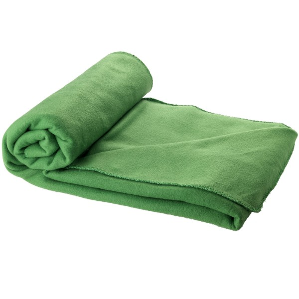 Huggy fleece plaid blanket with carry pouch - Green