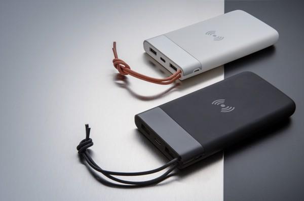 Aria 8000 mAh powerbank 5W-os vezeték nélküli töltéssel - Fekete