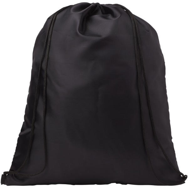 Kick zippered pockets drawstring backpack - Solid black