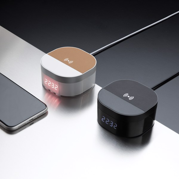 Aria 5W-os vezeték nélküli töltős digitális óra - Fekete