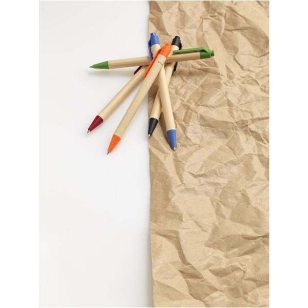 """Bolígrafo de cartón reciclado y plástico de maíz """"Berk"""" - Negro Intenso"""