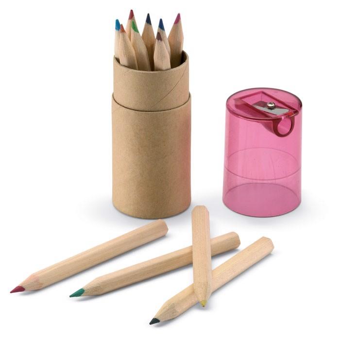 Tube 12 crayons de couleur Lambut - rouge transparent