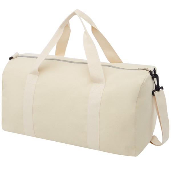 Pheebs 210 g/m² recycled cotton and polyester duffel bag - Natural