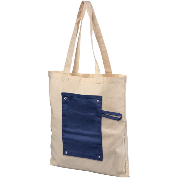 Snap 180 g/m² roll-up buttoned cotton tote bag - Navy