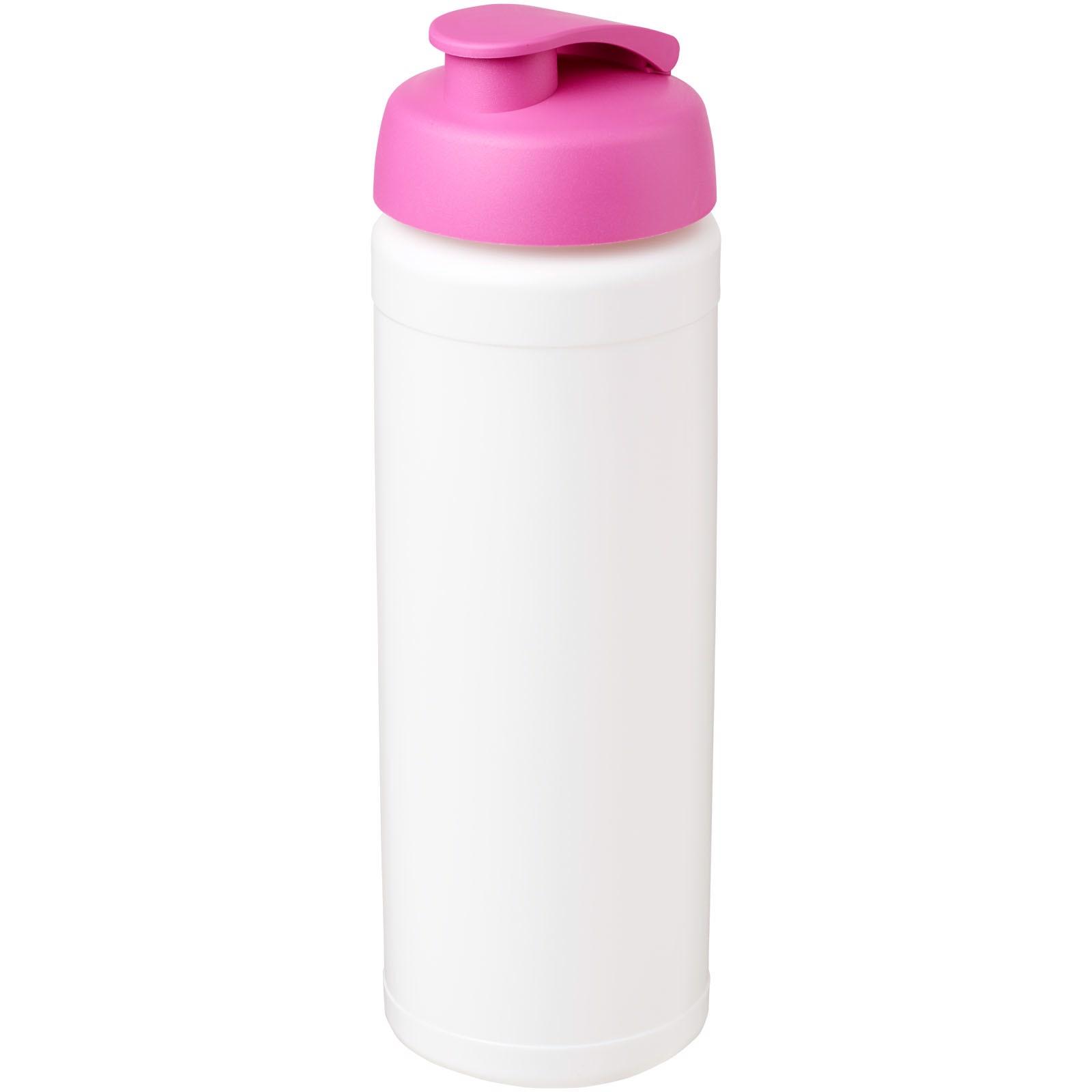 Sportovní láhev s vyklápěcím víčkem Baseline® Plus grip 750 ml - Bílá / Růžová