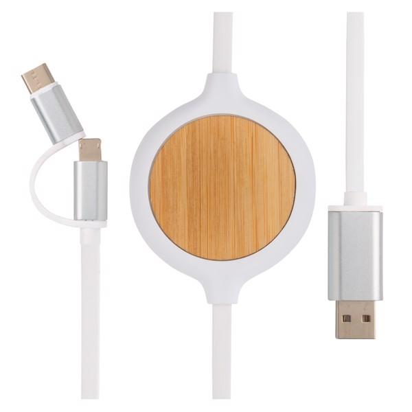 Kabel 3 v 1 s bambusovou bezdrátovou nabíječkou 5W