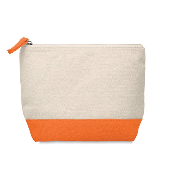 Bicolour cotton cosmetic bag Kleuren - Orange