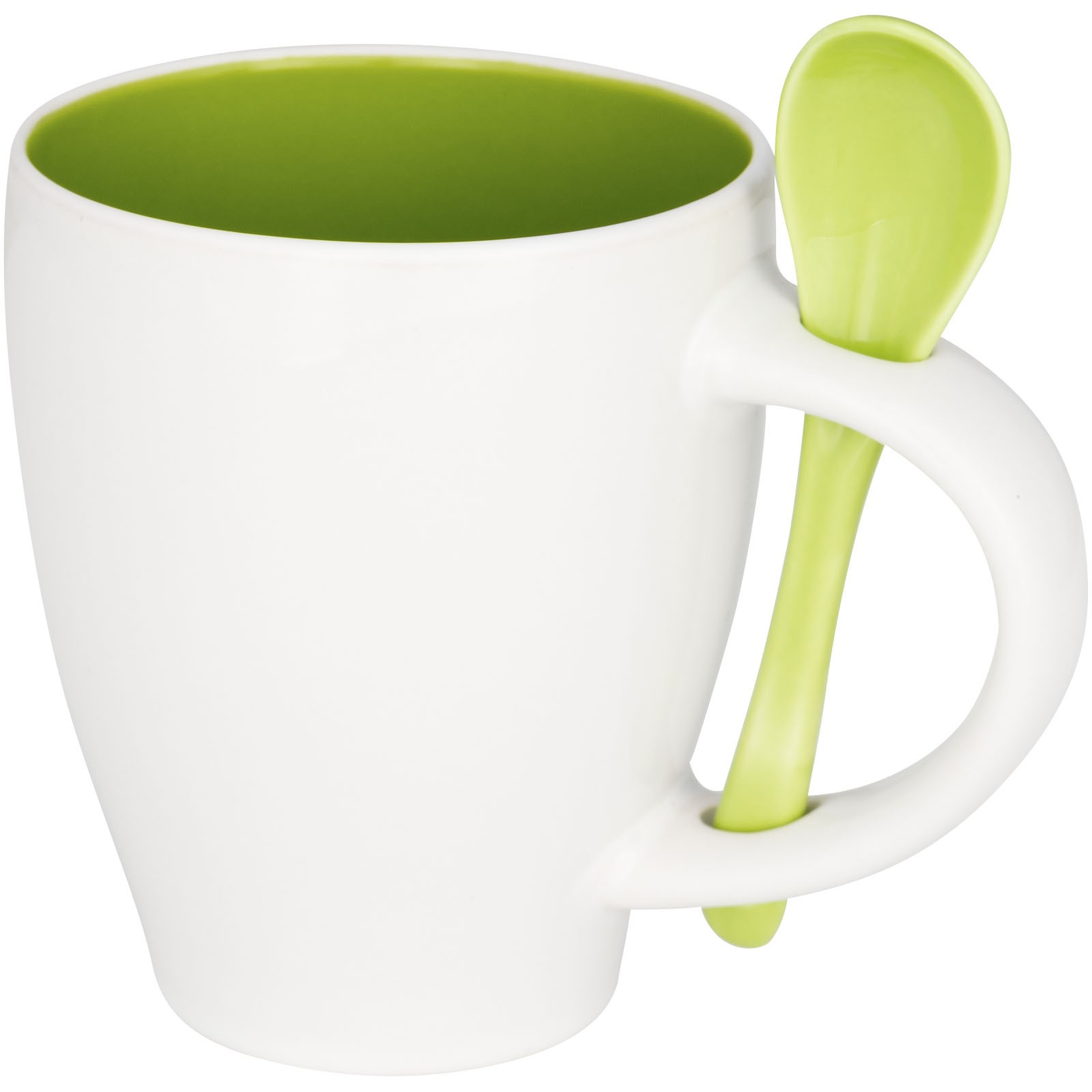 Nadu 250 ml ceramic mug with spoon - Lime