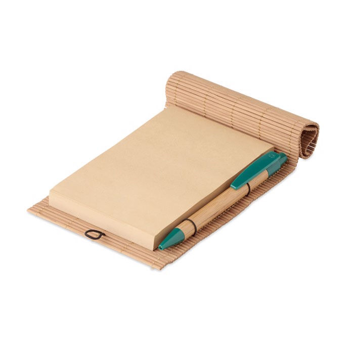 Bamboo 80 sheet notebook & pen Cortina Note