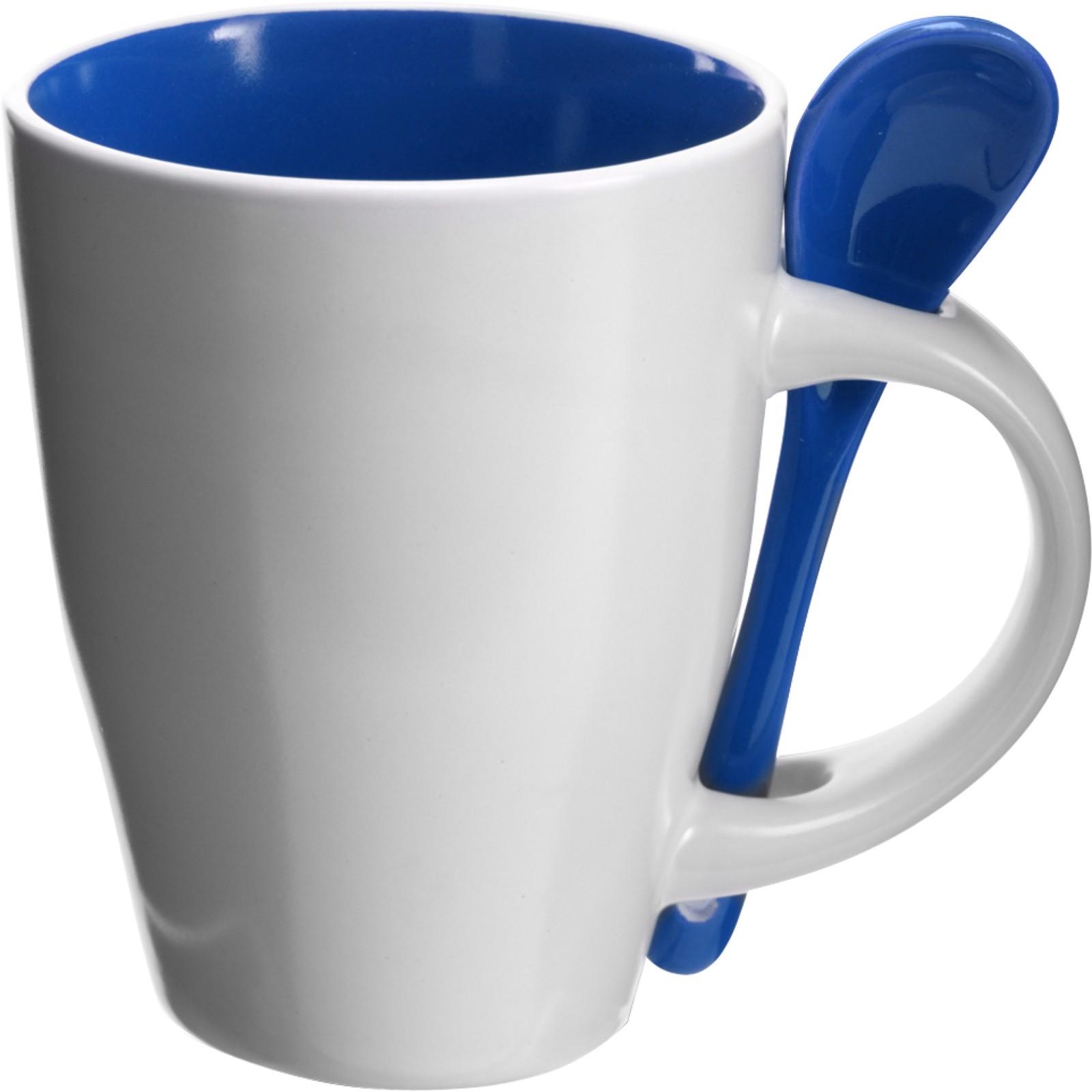 Ceramic mug with spoon - Blue