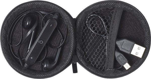 ABS pouch with earphones - Black