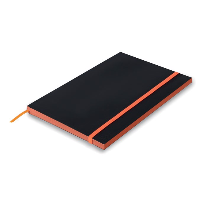 A5 Paper cover notebook lined Black Note - Orange