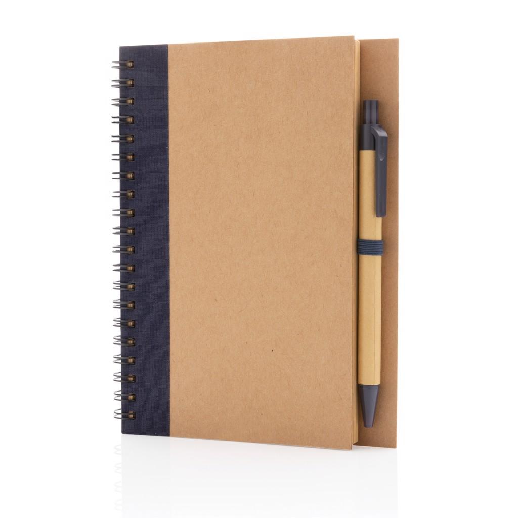 Kraft spiral notebook with pen - Blue