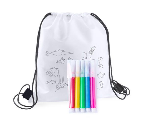 Colouring Drawstring Bag Backys - White