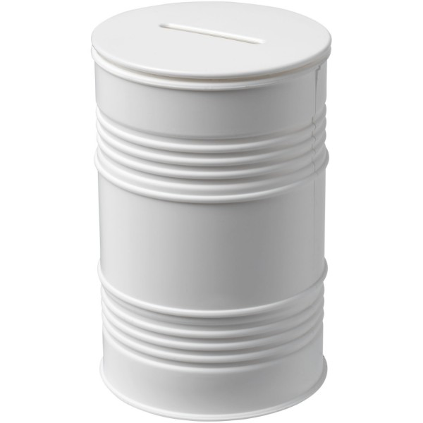 Banc oil drum money pot - White
