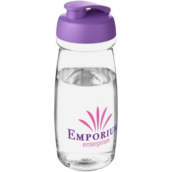 H2O Pulse® Bidón deportivo con Tapa Flip de 600 ml - Transparente / Morado