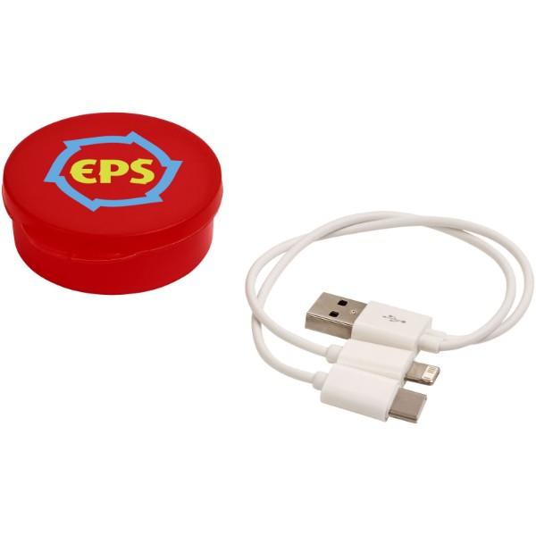 Nabíjecí kabel Versa 3-v-1 v pouzdru - Transparentní červená