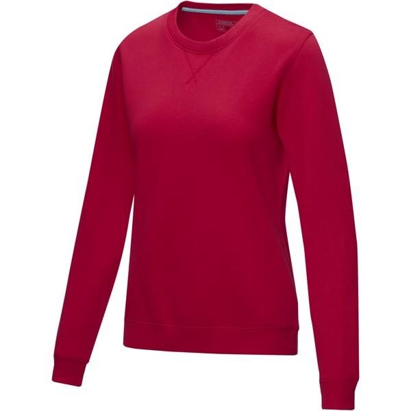 Jasper dámský svetr skulatým límečkem zorganického materiálu GOTS a recyklátu GRS - Červená s efektem námrazy / XXL