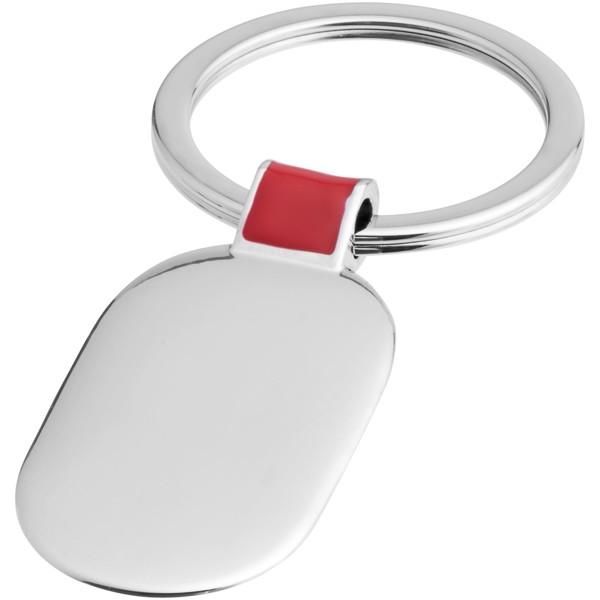Oválný přívěsek na klíče Barto - Červená s efektem námrazy / Stříbrný