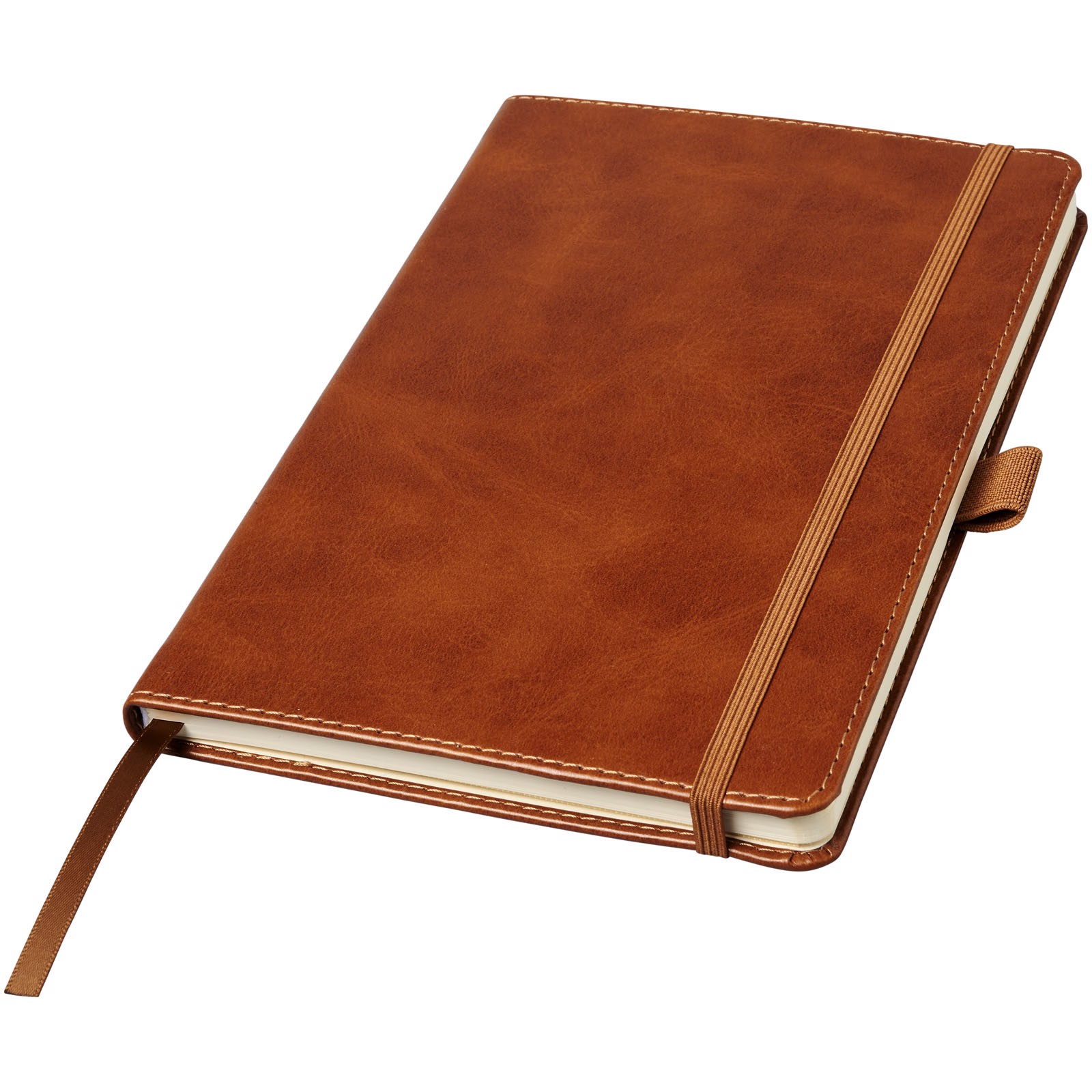 Coda A5 leather look hard cover notebook - Brown