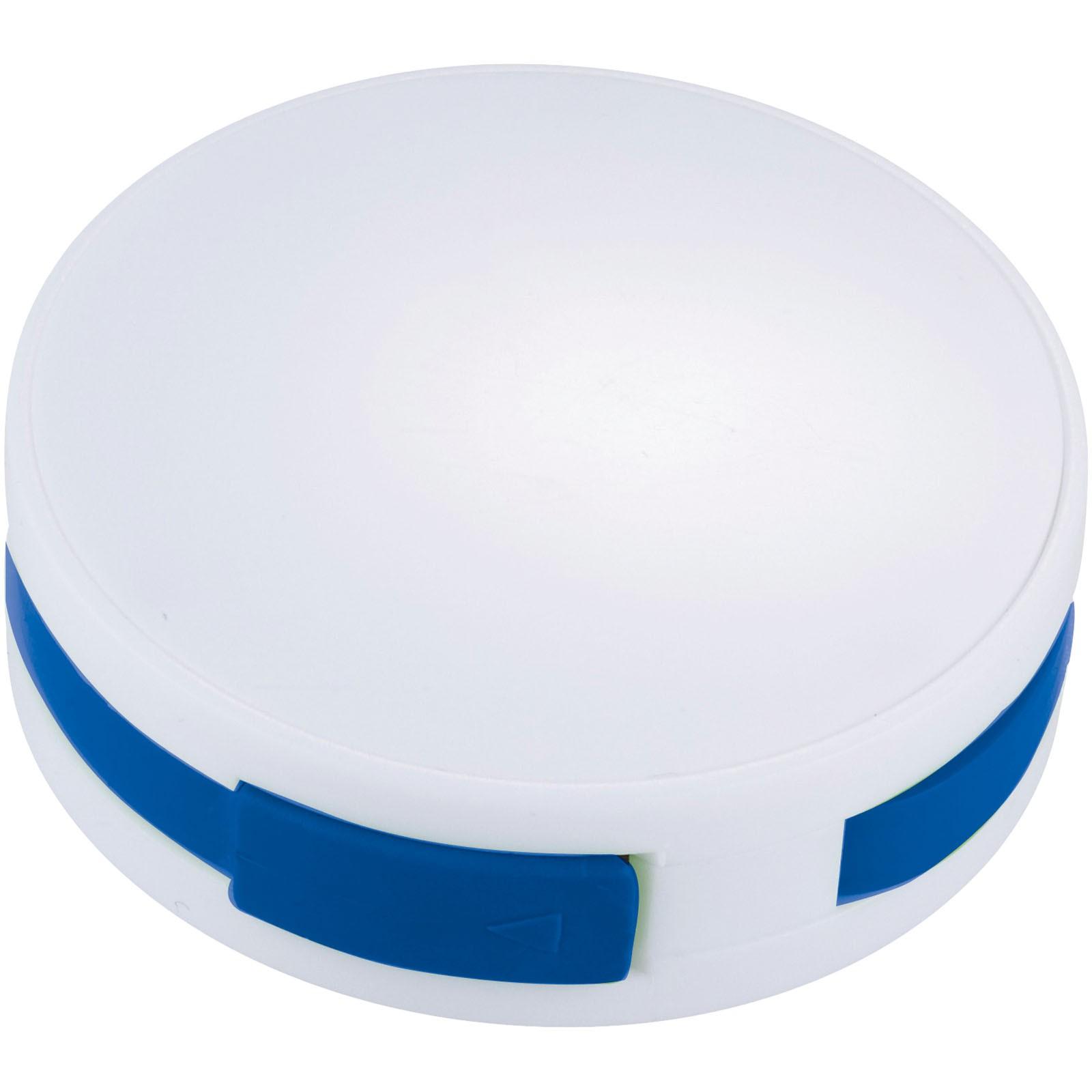 Round 4-port USB hub - White / Royal blue