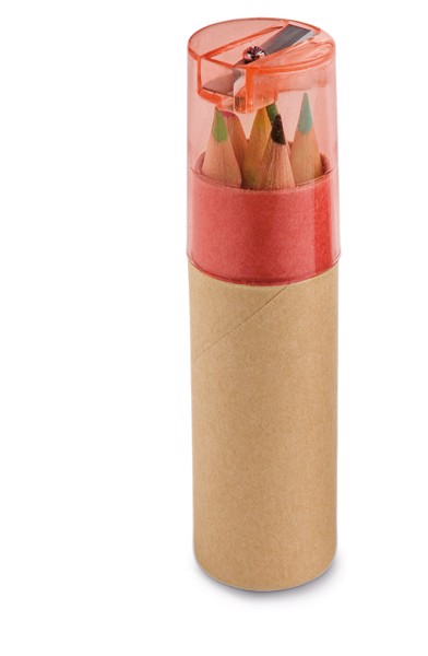 ROLS. Pencil box with 6 coloured pencils - Red