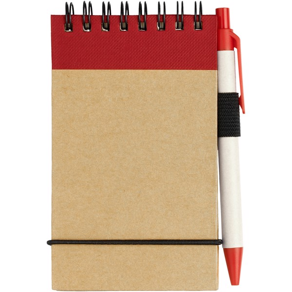 Zuse A7 recycled jotter notepad with pen - Natural / Red