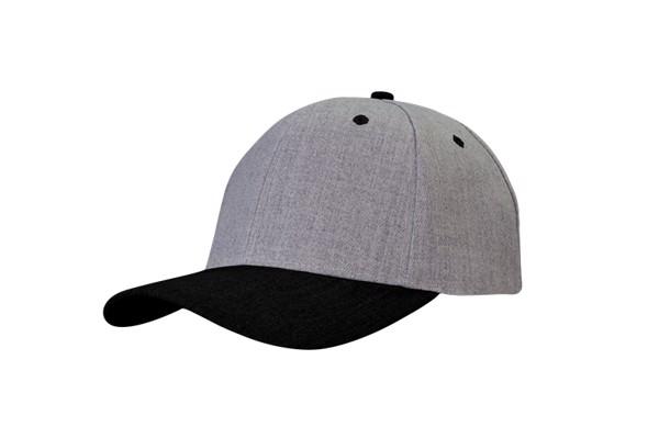 Reklamowa czapka z daszkiem wykonana z materiału Premium American Twill. Usztywniana z 6 panelami i profilowanym daszkiem. - Gray / Black