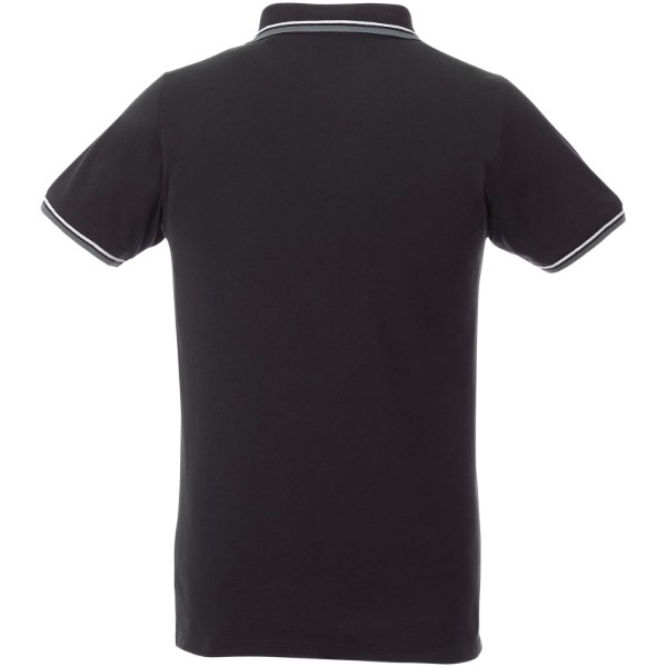 Fairfield short sleeve men's polo with tipping - Solid black / Grey melange / White / S
