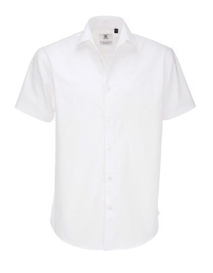Poplin Shirt Black Tie Short Sleeve / Men - White / XXL