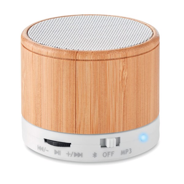 Round Bamboo wireless speaker - White