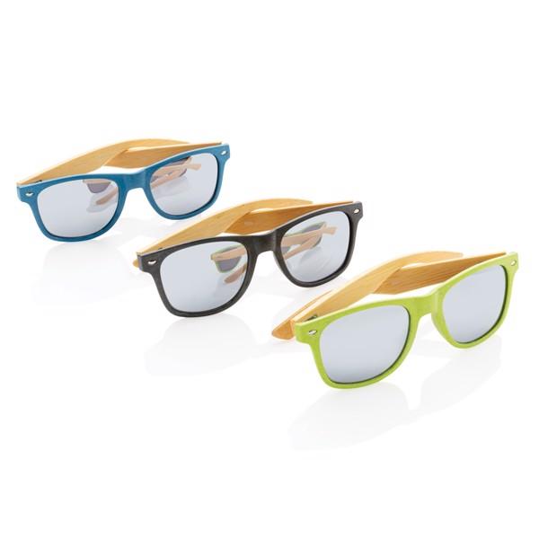 Sluneční brýle z bambusu a pšeničné slámy - Černá