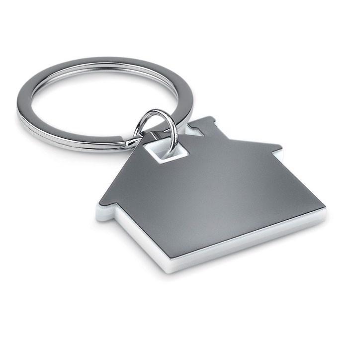 House shape plastic keyring Imba - White