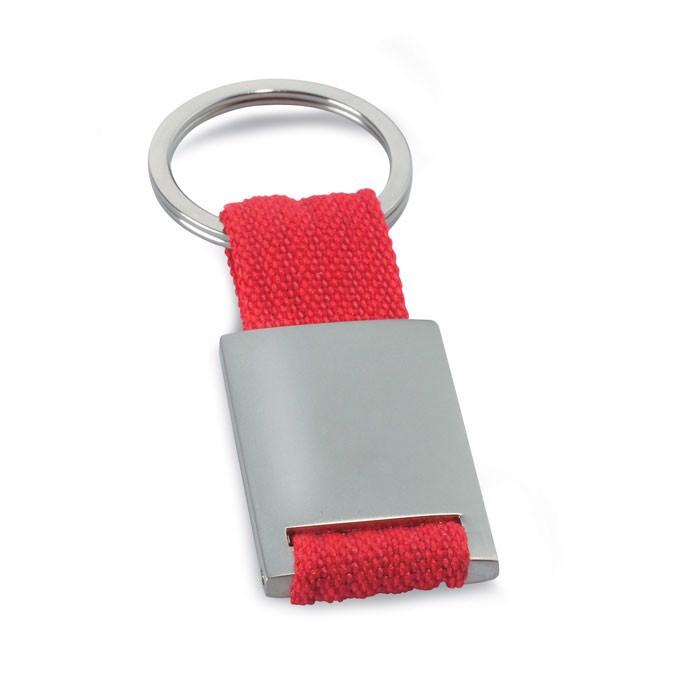 Metal rectangular key ring Tech - Red