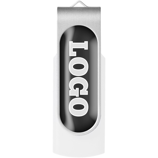 Rotate-doming 4GB USB flash drive - White / Silver
