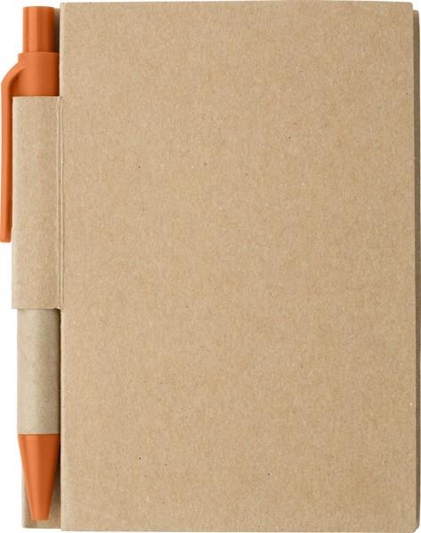 Bloc de notas de papel, y bolígrafo - Orange