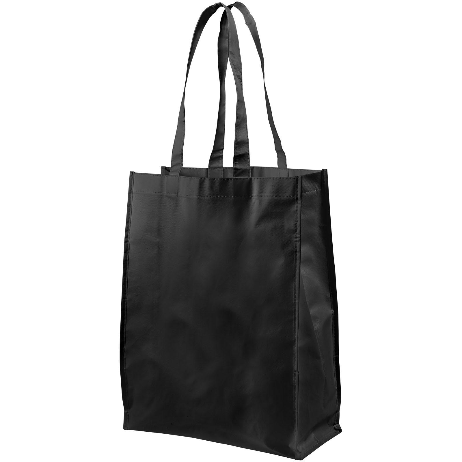 Conessa laminated shopping tote bag - Solid black