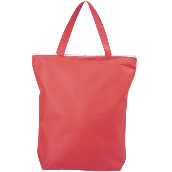 Privy zippered short handle non-woven tote bag - Red