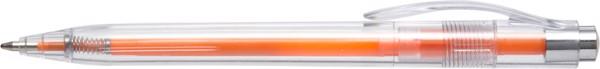 Plastic transparent ballpen with coloured refill - Orange