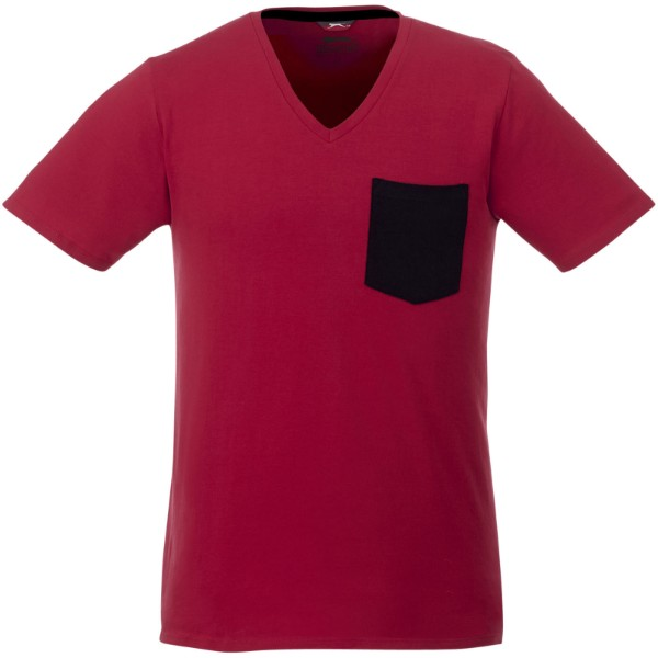 Gully pánské pocket tričko s krátkým rukávem - Tmavě červená / Navy / XS