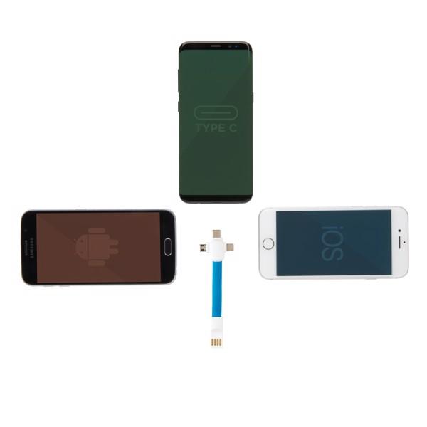 3 az 1-ben kulcstartó kábel - Kék